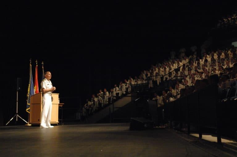 Captain Coffee giving a speech